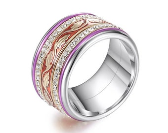 Personalized Stainless Steel Spinner Ring Starter Set for Men or Women * 12mm Red and Purple Leaf Starter Set