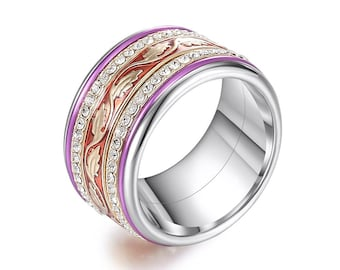 Stainless Steel Spinner Ring Starter Set for Men or Women * 12mm Red and Purple Leaf Starter Set