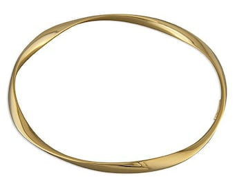 18ct Gold Twisted Bangle Bracelet for Girls or Women * Dainty Slim Stacking Bracelet* 4mm Wire *