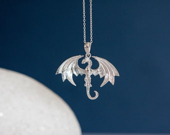 Sterling Silver Wyvern Dragon Pendant Necklace