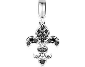 Fleur de Lis Charm Bead * Sterling Silver * 4.5mm Inner Diameter * Fits most European Charm Bracelets