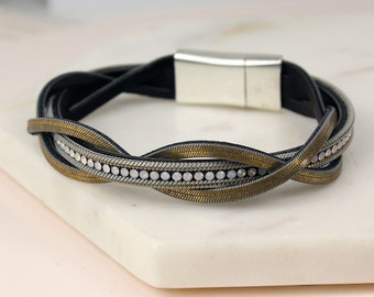 Personalised Triple Strand Leather Twist Bracelet With Crystals