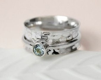 UK M Personalised Blue Topaz Spinner Ring * Sterling Silver * Boho * Anxiety, Meditation, Worry, Spinning Jewelry * Spin, Fidget