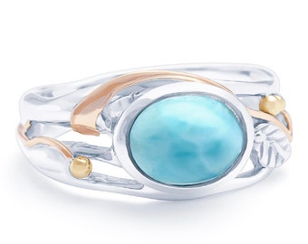 Personalized Sterling Silver Blue Larimar Gemstone Ring for Women - October Birthstone