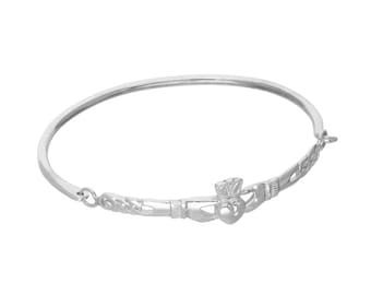 Personalised Claddagh Bracelet * Sterling Silver * Irish Jewelry * Personalised Bangle Gift