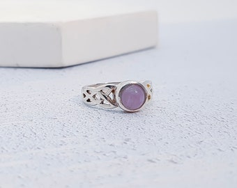 UK K / US 5 Amethyst Ring * Sterling Silver * Celtic Birthstone Ring * Celtic Knot * Irish Ring * Celtic Knot Jewelry * Birthstone Ring *