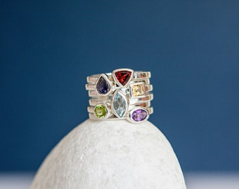 Sterling Silver Mixed Gemstone Stacking Ring Set for Women