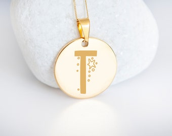 Personalised 9ct Yellow Gold Initial 'T' Alphabet Pendant Necklace
