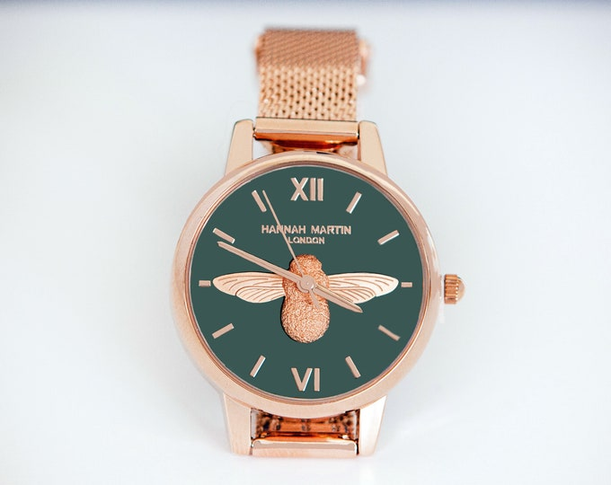 Featured listing image: Personalised Rose Gold and Olive Green Bee Watch