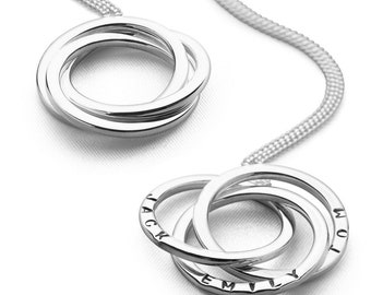 Sterling Silver Mothers Necklace for Women * Three Circles of Love Pendant Jewelry * Russian Ring