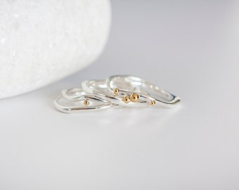 UK P | 7.5US | EU56 Sterling Silver Stacking Ring Set With Brass Details