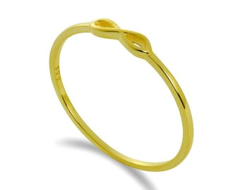 Personalized 14ct Yellow Gold Dainty Infinity Loop Stacking Ring