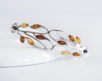 Sterling Silver and Amber Cuff Bracelet for Women * Personalized with 40 Characters * Baltic Amber Gemstone Leaf Bracelet * Nature Design *