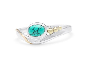 Personalized Sterling Silver Ring with Oval Turquoise Gemstones on a Silver Band with Gold Fill and Brass Detailing