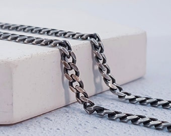 3.5mm Oxidised Curb Bracelet Chain * 8 inches * Sterling Silver