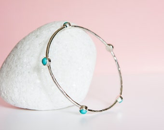 Sterling Silver Hammered Bangle Bracelet with Turquoise