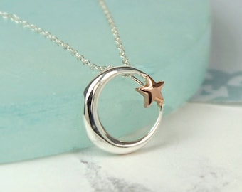 Personalised Moon and Star Necklace * Sterling Silver * Rose Gold * Space Jewelry * Universe * Moon and Stars *