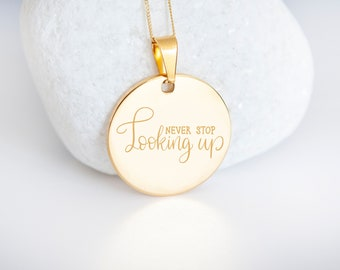 Personalised 9ct Yellow Gold Coin Disc Pendant Necklace - Never Stop Looking Up