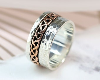 Personalized Sterling Silver Spinner Ring for Women * Wide Band * Custom Thumb Ring * Celtic Copper