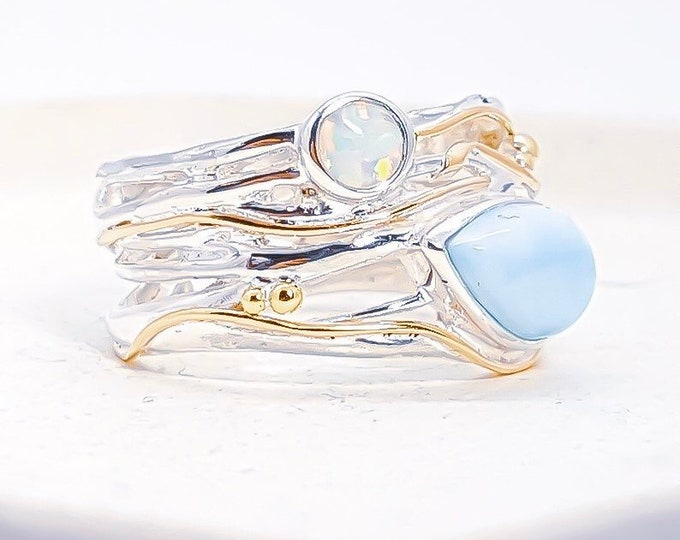Featured listing image: Larimar and Opal Ring