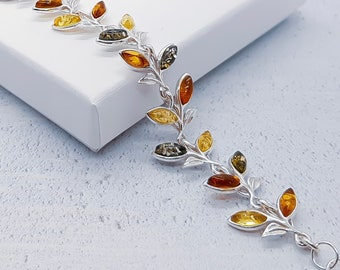 Personalized Sterling Silver and Amber Bracelet for Women * Baltic Amber Gemstone Leaf Bracelet * Nature Design *