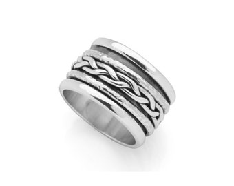 Personalized Sterling Silver Spinner Ring for Women or Men * Wide Band * Custom Thumb Ring * Plaited Design *