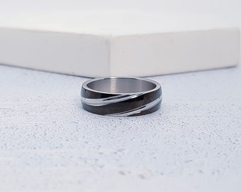 Black Two Tone Stainless Steel Ring for Men or Women