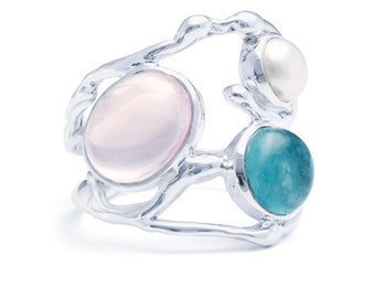 Sterling Silver Apatite, Rose Quartz and Freshwater Pearl Ring for Women * Personalized With Up To 40 Characters * Organic Gemstone Ring *