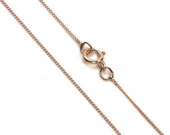 0.5mm Diamond Cut Curb Chain * 16 18 inches * 9ct Rose Gold