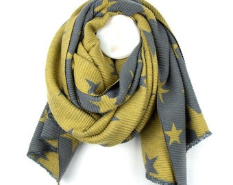 Personalised Reversible Mustard Yellow Pleated Scarf with Grey Star Print - 70cm x 180cm