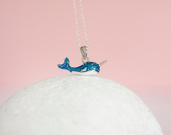 Sterling Silver Dainty Kawaii Narwhal Pendant Necklace