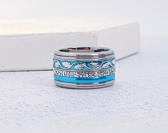 Stainless Steel Spinner Ring Starter Set for Men or Women * 12mm Blue Starter Set