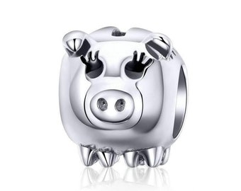 Piggy Bank Charm Bead * Sterling Silver * 4.5mm Inner Diameter * Fits most European Charm Bracelets
