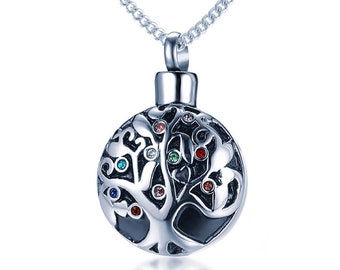 Stainless Steel Cremation Urn Necklace for Women * Personalized with 30 Engraved Characters * Small Keepsake Memorial Vial for Ashes *