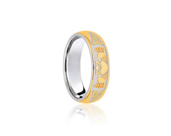 9ct Yellow and White Gold Ring for Women or Men * Celtic Gold Wedding Band * 8mm 7mm 6mm 5mm