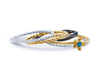 Personalized Sterling Silver and 18ct Gold Ring Set for Women * Turquoise Gemstone Stacking Ring Set