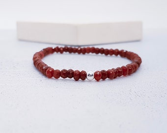 Sterling Silver Ruby Bracelet for Women * Adjustable Stretch Stacking Faceted 4mm Bead Bracelet