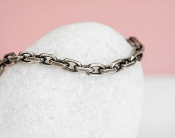 Sterling Silver Oxidized Marine Anchor Chain Bracelet