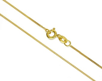 1mm Diamond Cut Curb Chain * 14 16 18 20 22 24 28 32 inches * Yellow Gold Dipped Sterling Silver