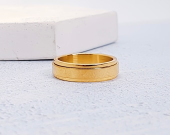 Stainless Steel Spinner Ring for Men * Custom Thumb Ring * 6mm Gold Brushed Finish *