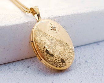 Personalised Engraved Locket Necklace * 9ct Yellow Gold * Oval Locket * Hair Locket * Picture Locket, Mourning Jewelry * Diamond, Footprints