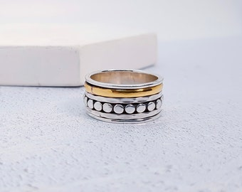 UK S / US 9 / EU 60.2 Dotty Spinner Ring * Sterling Silver * Boho * Anxiety, Meditation, Worry, Spinning Jewelry * Spin, Fidget