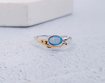 Personalized Sterling Silver Sky Blue Opal Ring for Women * Organic Gemstone Ring