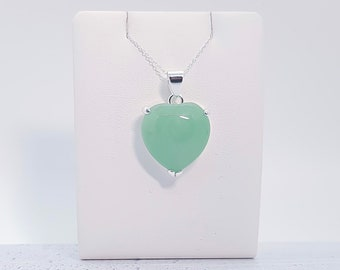 Personalized Sterling Silver Jade Heart Necklace for Women * Jade Gemstone Heart Love Friendship Family Pendant