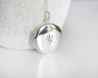 Sterling Silver Large Round Locket Pendant Necklace with Cubic Zirconia Star