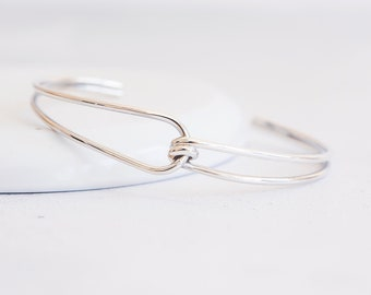 Sterling Silver Double Loop Knotted Torc Bangle Bracelet