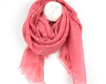 Personalised Coral Pink Scarf with Mixed Pastel Polka Dot Print - 70cm x 180cm