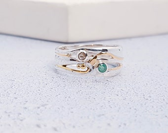 Sterling Silver Green Emerald and Champagne Diamond Ring for Women * Personalized With Up To 40 Characters * Organic Gemstone Ring *