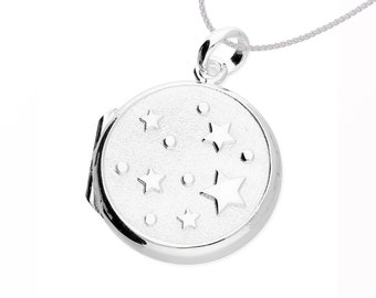 Sterling Silver Round Locket Pendant Necklace with Embossed Stars