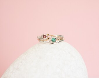 UK M | 6US | EU53 Sterling Silver Organic Ring with Emerald and Tourmaline